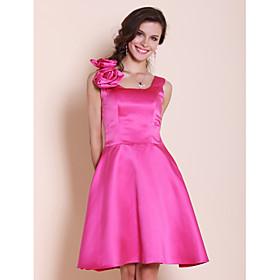 A-line Square Knee-length Satin Bridesmaid Dress
