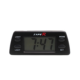 Automotive Electronic Clock with Blue Backlight - Black - TR-1830