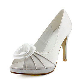 Elegant Satin Upper Stiletto Heel Peep Toe With Satin Flower Wedding Shoes More Colors Available