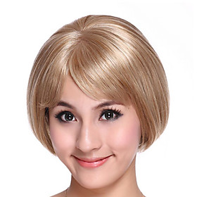 Part Hand Tied Capless Bob High Quality Synthetic Light Golden Hair Wig