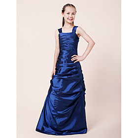 A-line Princess Straps Floor-length Taffeta Junior Bridesmaid Dress