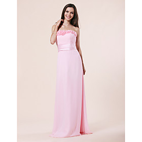 Sheath/ Column Strapless Floor-length Chiffon Elastic Woven Satin Bridesmaid Dress