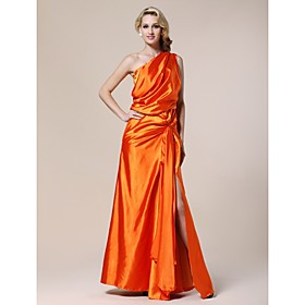 Elastic Woven Satin Sheath/ Column One Shoulder Floor-length Evening Dress inspired by Karolina Kurkuva