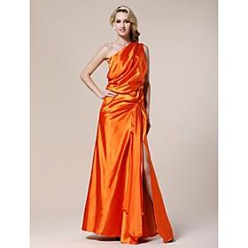 Elastic Woven Satin Sheath/ Column One Shoulder Floor-length Evening Dress inspired by Karolina Kurkuva