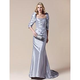 Taffeta Sheath/ Column Square Sweep Train Evening Dress inspired by Helen Mirren at the 83rd Oscar