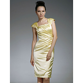 Elastic Woven Satin Sheath/ Column Square Knee-length Cocktail Dress inspired by Jennifer Westfeldt at Emmy Award