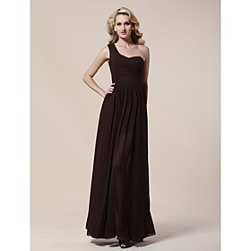 Sheath/ Column One Shoulder Floor-length Chiffon Matte Satin Evening Dress