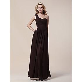 Sheath/ Column One Shoulder Floor-length Chiffon Matte Satin Evening Dress