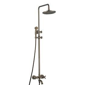 Wall Mount Antique Brass Shower Faucet Set