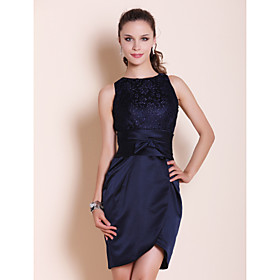 Sheath/ Column Bateau Short/ Mini Satin Cocktail Dress