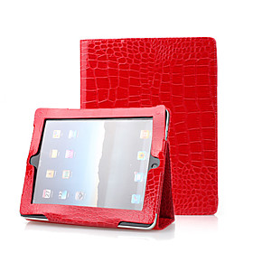 Red 2 in 1 Protective Crocodile Leather Case For iPad