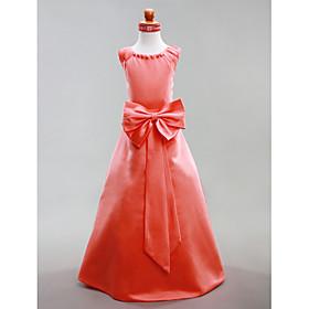 A-line Jewel Floor-length Satin Flower Girl Dress