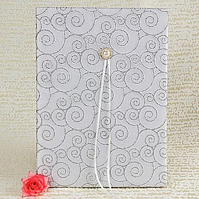 Silver Scroll Guest Book with Tri-Fold Blank Pages