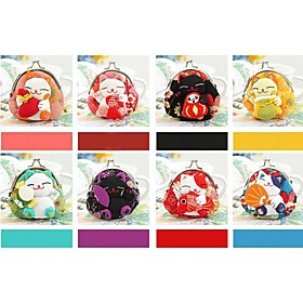 Fabric Beanie Lucky Cat Coin Purse Favors (Set of 8 in Assorted Colors)