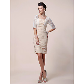 Sheath/ Column Square Knee-length Chiffon Mother of the Bride Dress