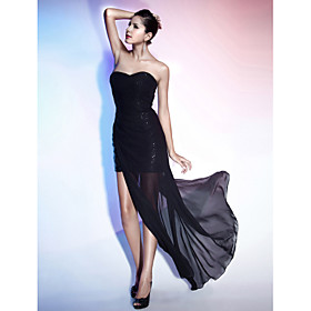 Sheath/ Column Sweetheart Floor-length Chiffon Sequined Evening Dress