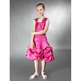 A-line Princess Straps Knee-length Satin Junior Bridesmaid Dress