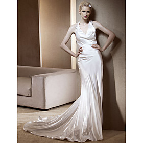 Sheath/ Column Halter Chapel Train Elastic Woven Satin Wedding Dress
