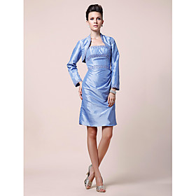 Sheath/ Column Strapless Short/ Mini Taffeta Mother of the Bride Dress With A Wrap