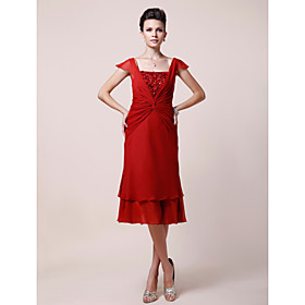 A-line Square Knee-length Chiffon Mother of the Bride Dress