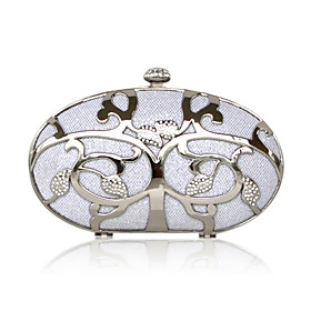 Stainless Steel Shell With Rhinestone Evening Bag Handbag Purse Clutch