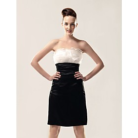 Chiffon Taffeta Sheath/ Column Strapless Knee-length Taffeta Evening Dress