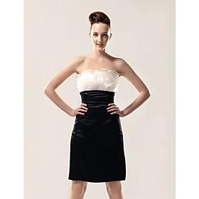 Chiffon Taffeta Sheath/ Column Strapless Knee-length Taffeta Evening Dress