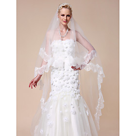 Two-tier Chapel Wedding Veil With Scalloped Edge