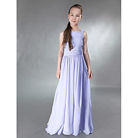 A-line Straps Square Floor-length Chiffon Junior Bridesmaid Dress