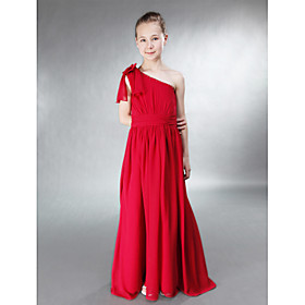 A-line Princess One Shoulder Floor-length Chiffon Junior Bridesmaid Dress
