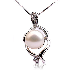 Elegant AA Freshwater Pearl Platinum Plated Pendant With A 925 Silver Necklace