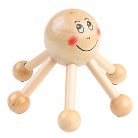 6-support Wooden Massage Tool with Smiling Face Decoration