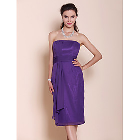 Sheath/ Column Strapless Knee-length Draped Chiffon Bridesmaid Dress