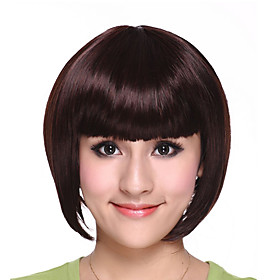 Capless Short High Quality Synthetic Brown Black and White Bob Hair Wig