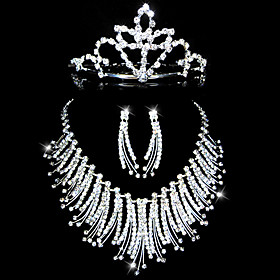 Gorgeous Rhinestones Wedding Bridal Jewelry Set, Including Necklace, Earrings and Tiara