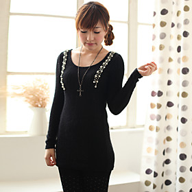 TS Jewel Embellishment Knit Long Sleeve Top
