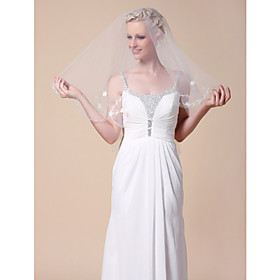 One-tier Fingertip Wedding Veils With Cut Edge