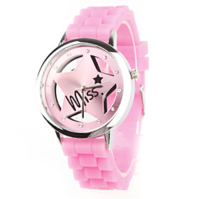 Silicone Band Quartz Wrist Watch For Women(Pink)