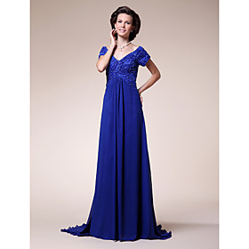 A-line Off-the-shoulder Sweep/ Brush Train Chiffon Mother of the Bride Dress