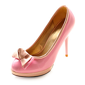 Leatherette Upper Stiletto Heel Pumps With Bowknot Evening Shoes More Colors Available