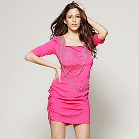 TS Hot Pink Half Sleeve Embellished Neckline Party Dress
