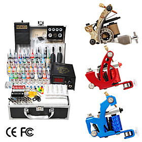 3 Guns Tattoo Kit with LCD Power and 40 Color Ink   Freeshipping