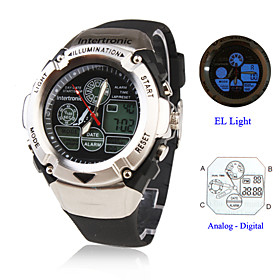 Men's and Women's Multi-Functional Silicone Digital Analog Automatic Wrist Watch (Black)