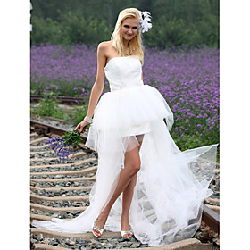 Ball Gown Strapless Asymmetrical Satin Tulle Wedding Dress