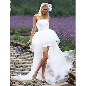 Ball Gown Strapless Asymmetrical Satin Tulle Wedding Dress