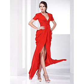 Chiffon Sheath/ Column V-neck Floor-length Evening Dress inspired by Katharine Mcphee