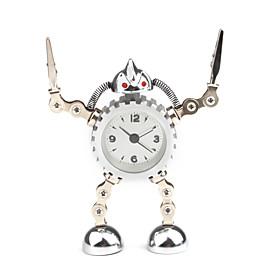 Creative Metal Robot Design Desktop Analog Alarm Clock (Random Color)