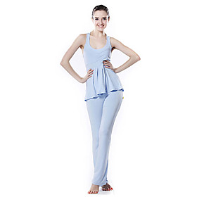 YOGAYF-Eco Friendly Cotton Yoga Suit Fitness Wear(Sky Blue V-Neck Tank Sports Yoga Pants)