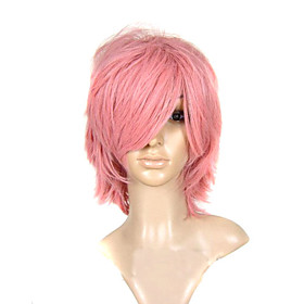 Capless Short Straight Multilayer Pink Party Costume Wig