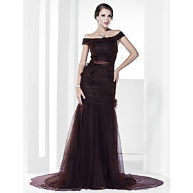 Trumpet/ Mermaid Off-the-shoulder Court Train Satin Evening Dress